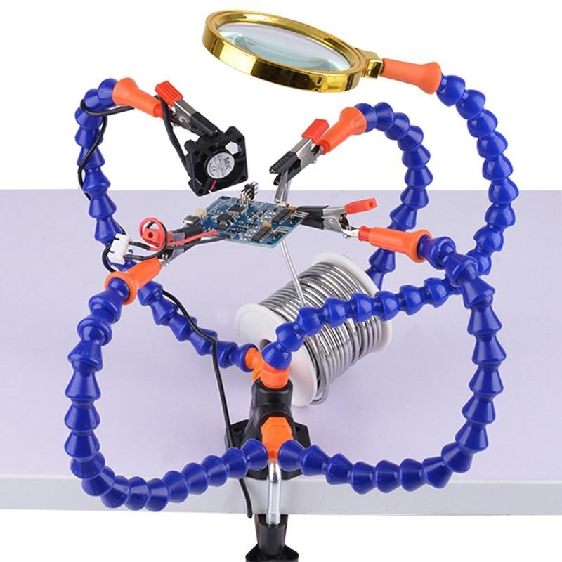 Настольный зажим для пайки, лупа с подсветкой, «третья рука», USB