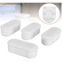 4 Pieces Universal Toilet Seat Bumper Protection Pads Bathroom Accessories Replacement Bumpers with Strong Adhesive