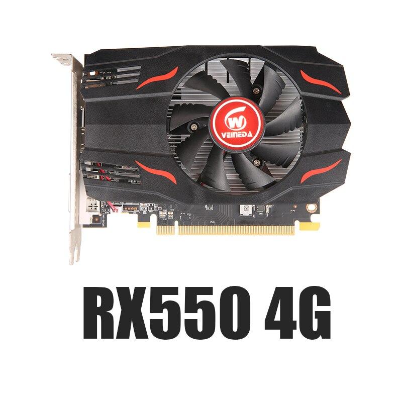 VEINEDA الأصلي RX 550 4GB بطاقات الفيديو GPU GDDR5 بطاقات الرسومات الكمبيوتر كمبيوتر مكتبي خريطة اللعبة PCI-E X16 ل AMD Radeon RX550 4GB