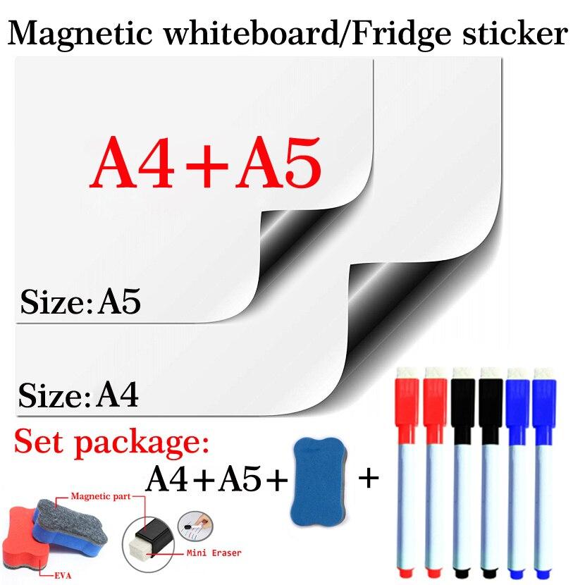 Магнитная доска для стирания, мягкая дом офис кухня белая доска для стирания, на холодильник, A4 + A5