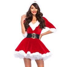 Disfraz de Navidad para mujer, vestido de media manga con cintura alta con capucha para mujer, vestido de fiesta con temática de actuación para mujer, disfraz de Papá Noel
