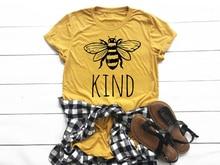 Футболка с надписью «Bee kind», хлопковая Футболка для женщин, забавная графическая футболка tumblr, футболка унисекс, L018