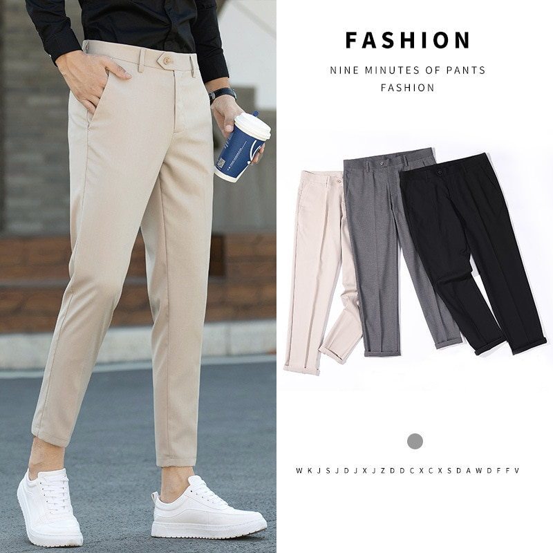 Korean Version Of Non-iron Summer Thin Nine-Point Small Men's Self-Cultivation Small Feet Trend All-Match 9-point Casual Pants,