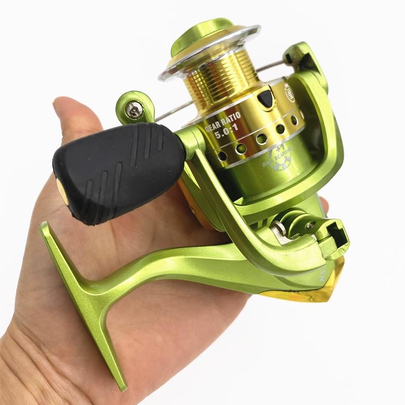 KS3000 8 rodamientos 5,0 1 Relación de engranaje de carrete de la pesca de carrete giratorio cuerpo de aluminio de agua salada accesorios de pesca de bobina