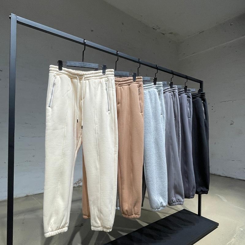 Мужские повседневные брюки 2021, зимние спортивные брюки, уличная одежда, хлопковые свободные спортивные брюки, женские Мешковатые брюки, пло...