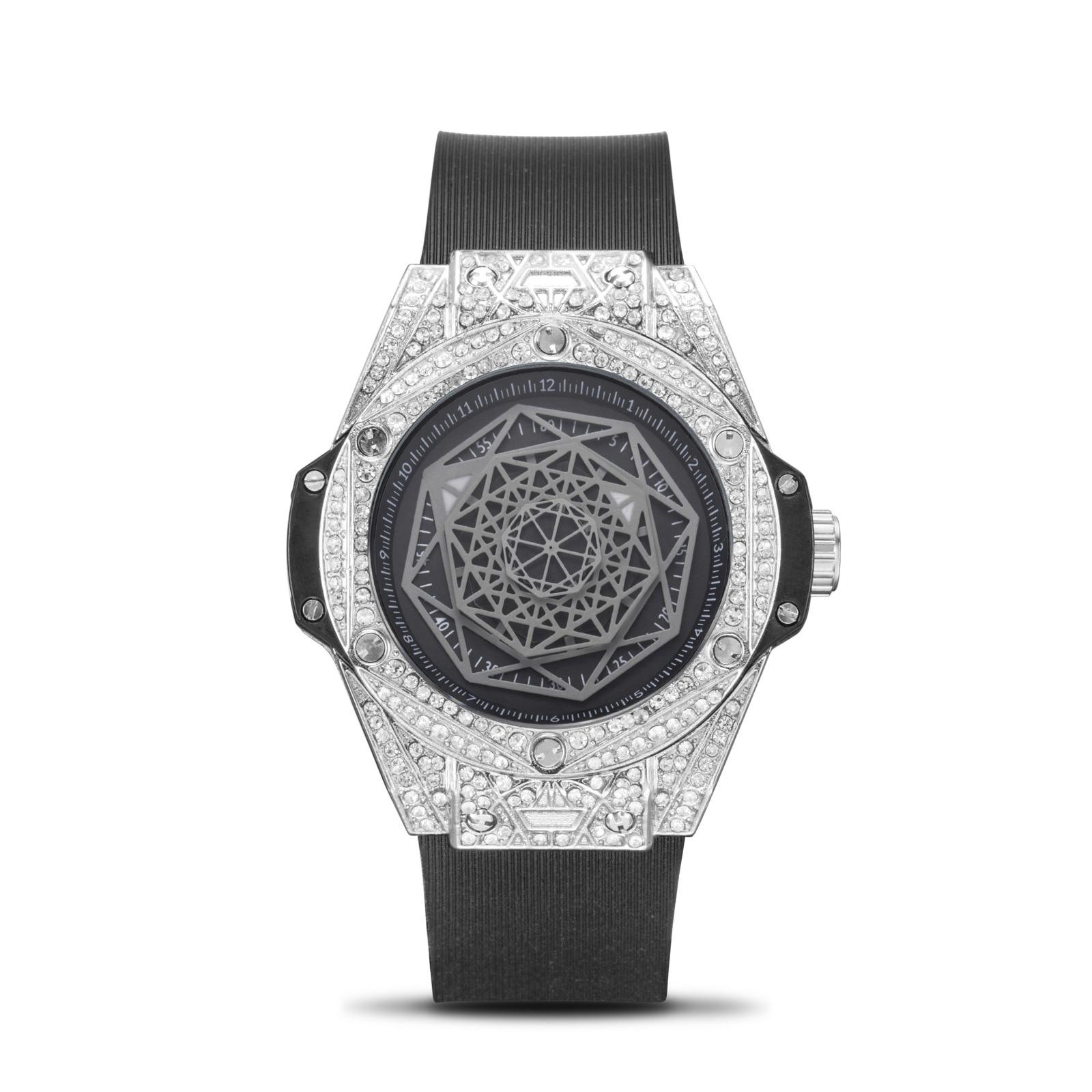 Classic Diamond Mens Sports Watch Waterproof Black Steel Case Men's Quartz Watches Clock Male Casual WristWatch Reloj Relogio