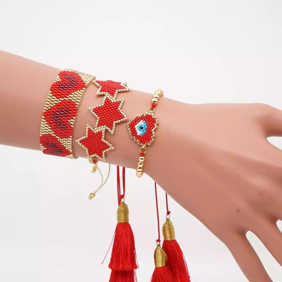 ZHONGVI MIYUKI Pulsera de corazón Boho Chic mujeres turco mal ojo Pulsera conjunto rojo estrella joyería Pulsera Mujer 2020 borla Handmad