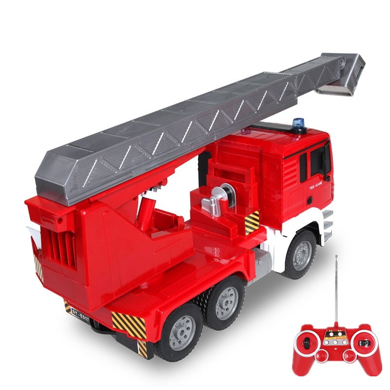 1:20 Remote Control Retractable Ladder Fire Truck Programmable 360Degree Rotation Table Rechargeable Electric RC Model For Kids enlarge