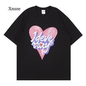 Unisex Summer Men Short Sleeve t Shirts Hip Hop Heart Letter Print 2021 Streetwear Harajuku Casual Women Cotton Loose Top Tees