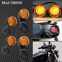 Lampe à fourche en métal pour Harley Sportster XL Dyna Bobber indicateur lumineux clignotant   Moto 39mm 4 pièces avant arrière 12V,