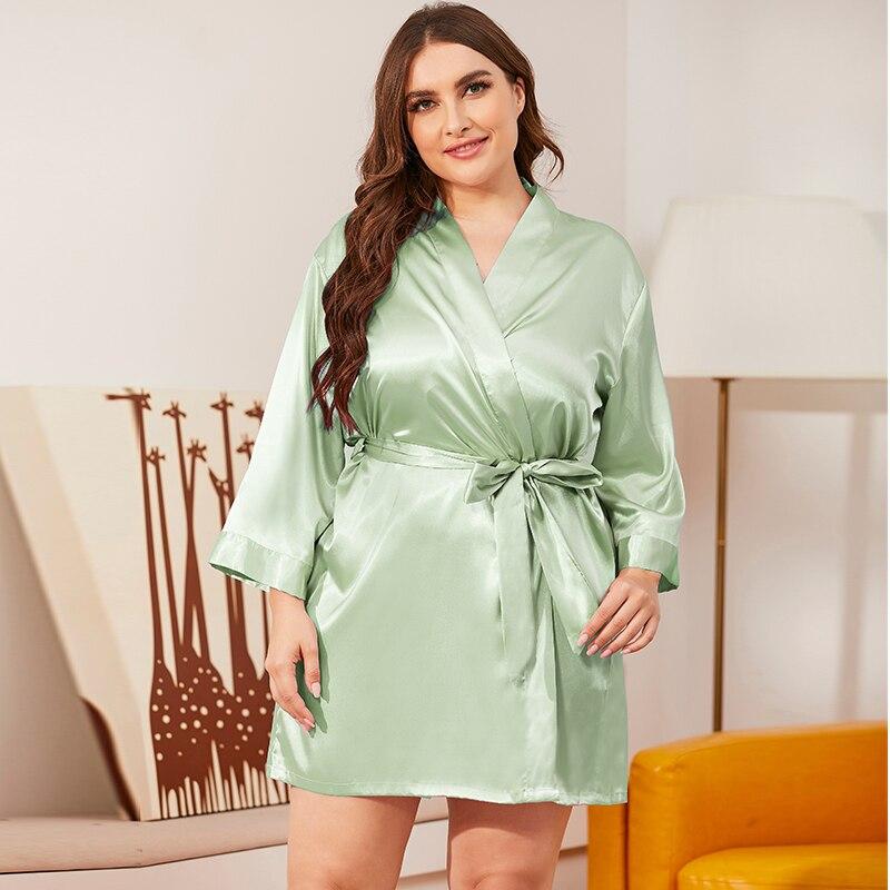 Плюс размер 100 кг атлас халат женский сексуальное нижнее белье одежда для сна шелковистое кимоно халат халат ночное белье лето однотонный женский ночной халат