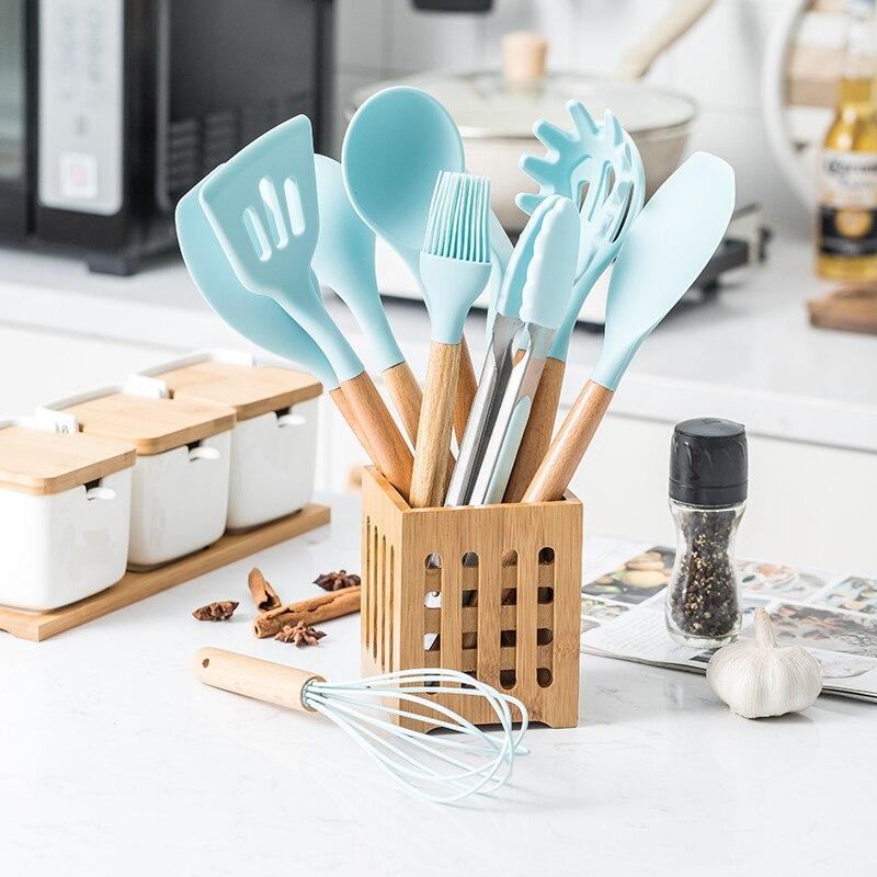 12 pçs conjunto de utensílios de cozinha de silicone antiaderente pá de espátula de madeira lidar com ferramentas de cozinha conjunto com caixa de armazenamento conjunto de ferramentas de cozinha Conjuntos de acessórios p/ cozinha    -