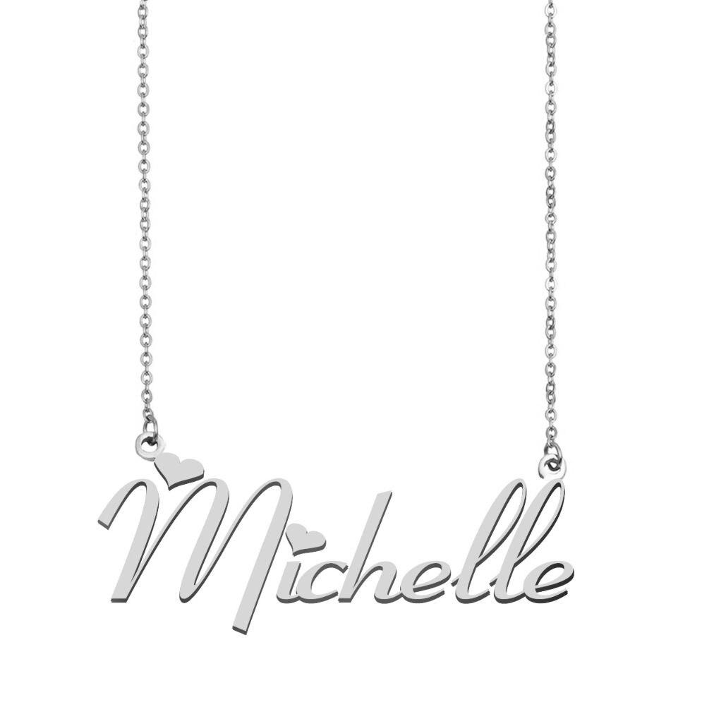 ميشيل اسم قلادة شخصية الفولاذ المقاوم للصدأ المرأة المختنق 18k مطلية بالذهب الأبجدية قلادة بحرف مجوهرات أصدقاء هدية