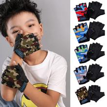Child Cycling Camouflage Children's Half Finger Bicycle Gloves High Elastic Non-slip Bike Gloves Rid