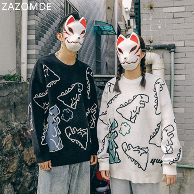 ZAZOMDE Men Hip Hop Dinosaur Sweater Cartoon Casual Loose Knitted Pullover Autumn Winter Men Oversized Sweater Couple Unisex