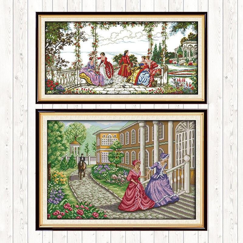 Pintura aristocrática de punto de cruz con cuentas, 14CT, 11CT, lienzo estampado con cuentas, bordado DIY, juegos de costura, hilo de algodón