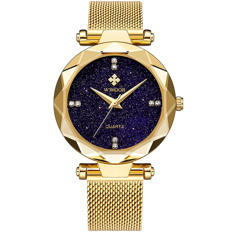 2021 WWOOR Top Brand Women Watch Gold Stainless Steel Ladies Quartz Watches Casual Starry Sky Diamond Wristwatch For Ladies gift enlarge