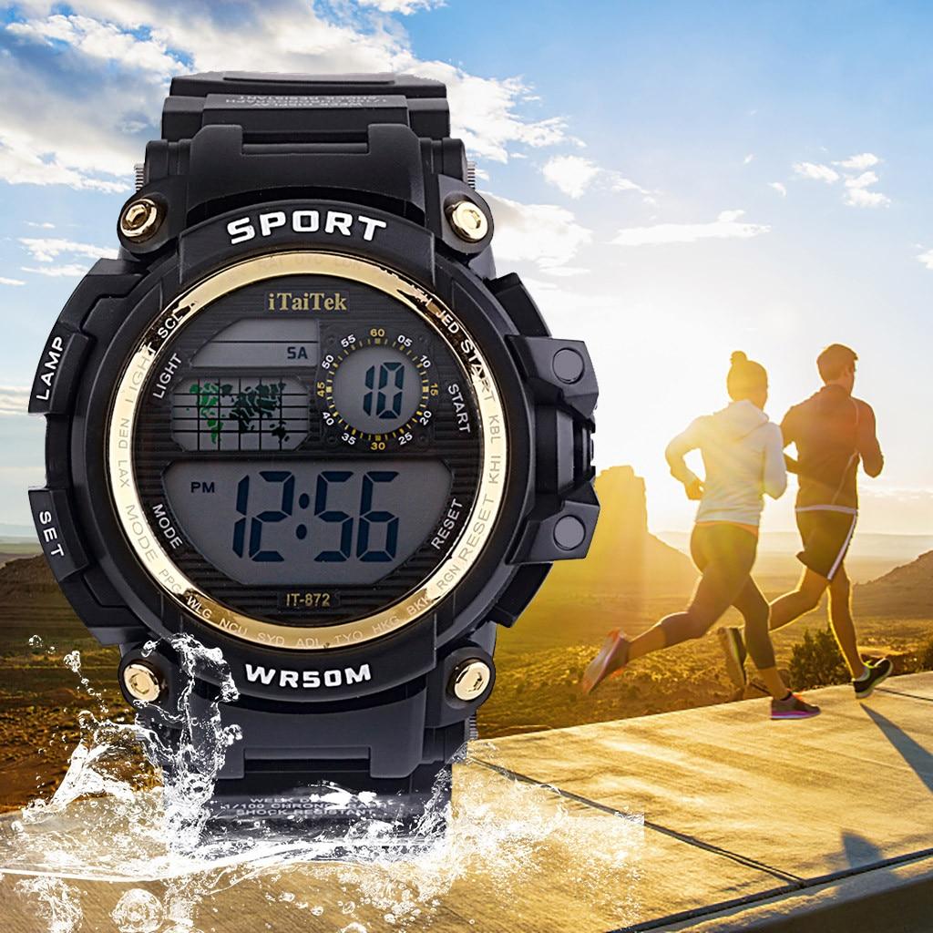Reloj multifunción para hombre, reloj digital LCD resistente al agua para chicos, cronómetro deportivo, reloj de pulsera erkek kol saati 2020, reloj masculino