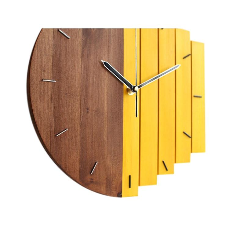 Wooden Wall Clock Modern Design Vintage Rustic Shabby Clock Quiet Art Watch Home Decoration C