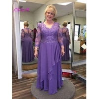 plus size mother of the bride for wedding chiffon sheer long sleeves evening formal dress elegant v neck appliques mother gowns
