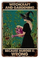 witchcraft and gardening metal signs vintage wall decor retro art tin sign decorations for home bar farm plaque poster 8x12 inch
