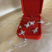solid 925 sterling silver sparking butterfly simulate moissanite high carbon earringsringnecklace jewelry set gift for women
