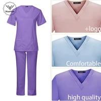 womens short sleeve v neck solid color nursing work scrub uniform suit clinic nurse uniform protective clothing care worker lab