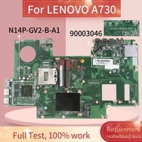 90003046 for lenovo a730 laptop motherboard da0wy1mb8e0 n14p gv2 b a1 sr13j ddr3 notebook mainboard