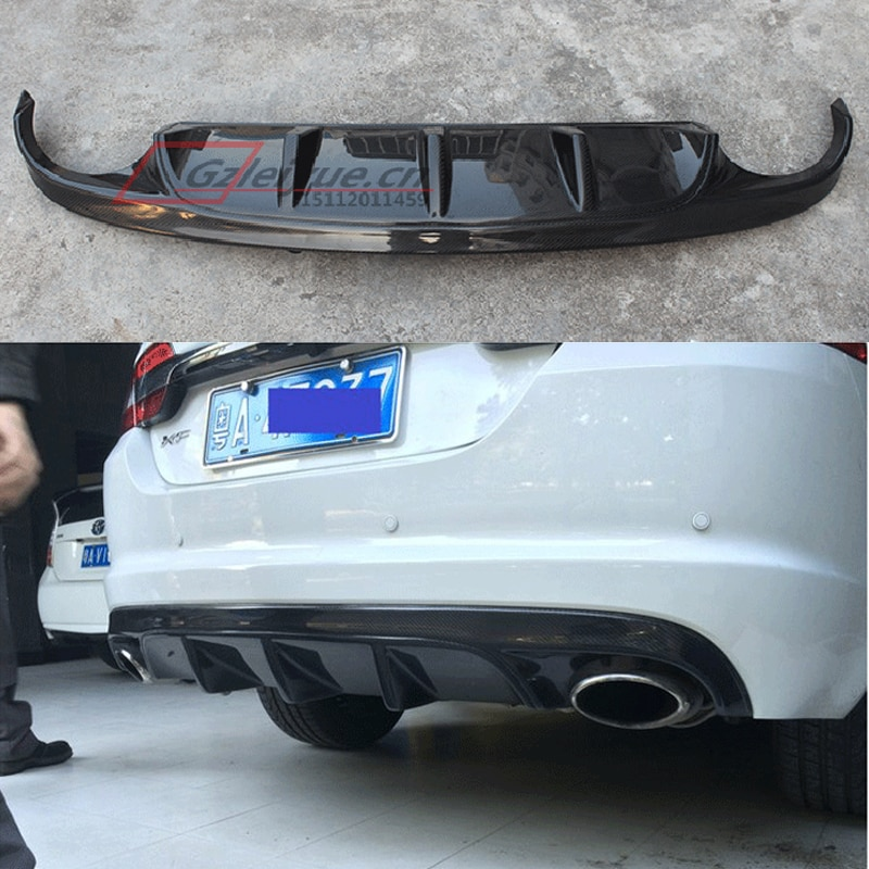 Car Styling Carbon Fiber Rear Lip Spoiler High Quality Auto Bumper Diffuser Accessories Fit for Jaguar XF 2012 - 2015