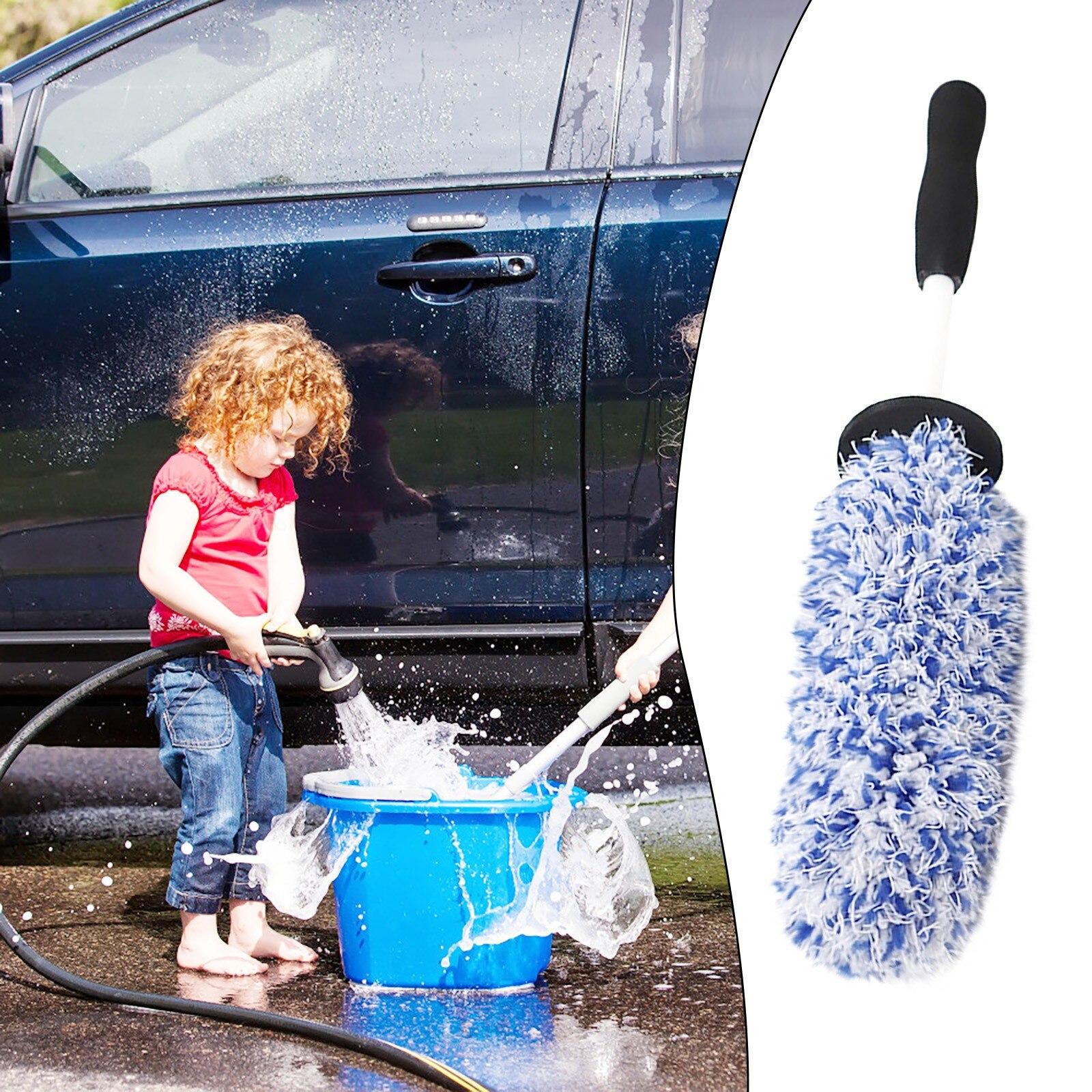 1pcs car upgrade version lengthened car maintenance rim cleaning brush car washing beauty microfiber rim rim detail brush