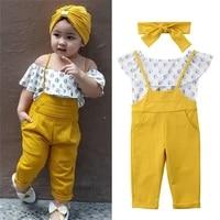 aa flora toddler baby girl kids clothing off shoulder tops long pants overalls headbands 3pcs summer clothes set girl 1 6t