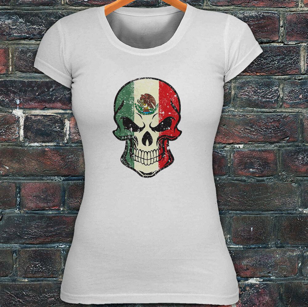 Camiseta blanca para mujer bandera mexicana calavera VIVA MEXICO orgullo Águila
