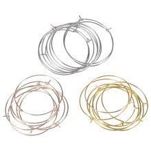 50Pcs/Lot Hoops Earrings Circle Earwire Jewelry Findings Wires Hoops Earrings Supplies DIY Jewelry M