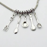 100pcs craft supplies fork knife spoon tableware charms pendants for crafting jewelry findings diy necklace bracelet