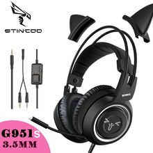 Wired Headset Gamer Black Cat Ear Headset PS4 Phone PC With Microphone 3.5mm Gaming Phone PS4 Overea