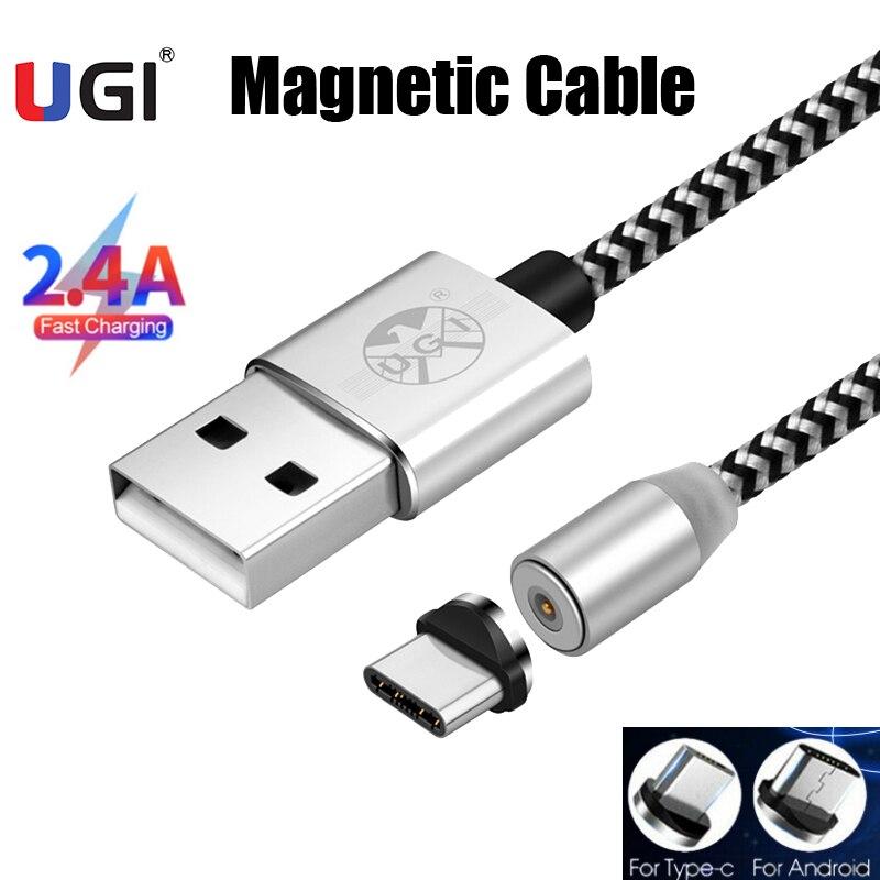 UGI-Cables magnéticos de 360 °, Cable de carga rápida, Micro Cable tipo...