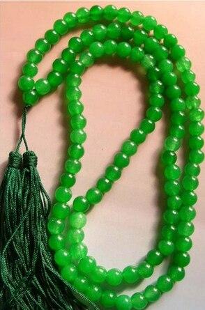 108 Green Jades Bead Tibet Buddhist Prayer Necklace Mala Fashion