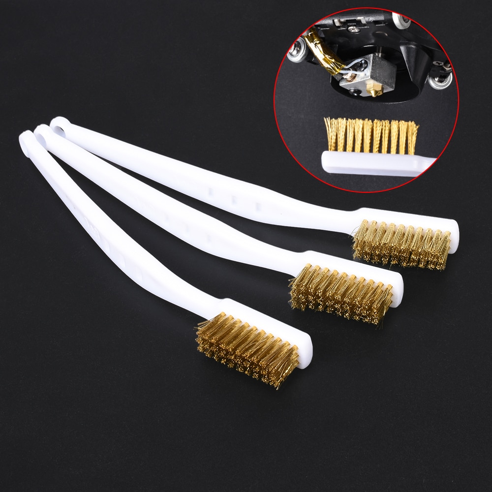 3D Printer Cleaner Tool Copper Wire Toothbrush Copper Brush Handle For Nozzle Heater Block Hotend Cleaning Hot Bed Parts