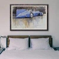 Peinture classique de voiture de course retro bleue T153 72  affiche en soie personnalisee  decoration murale  cadeau de noel