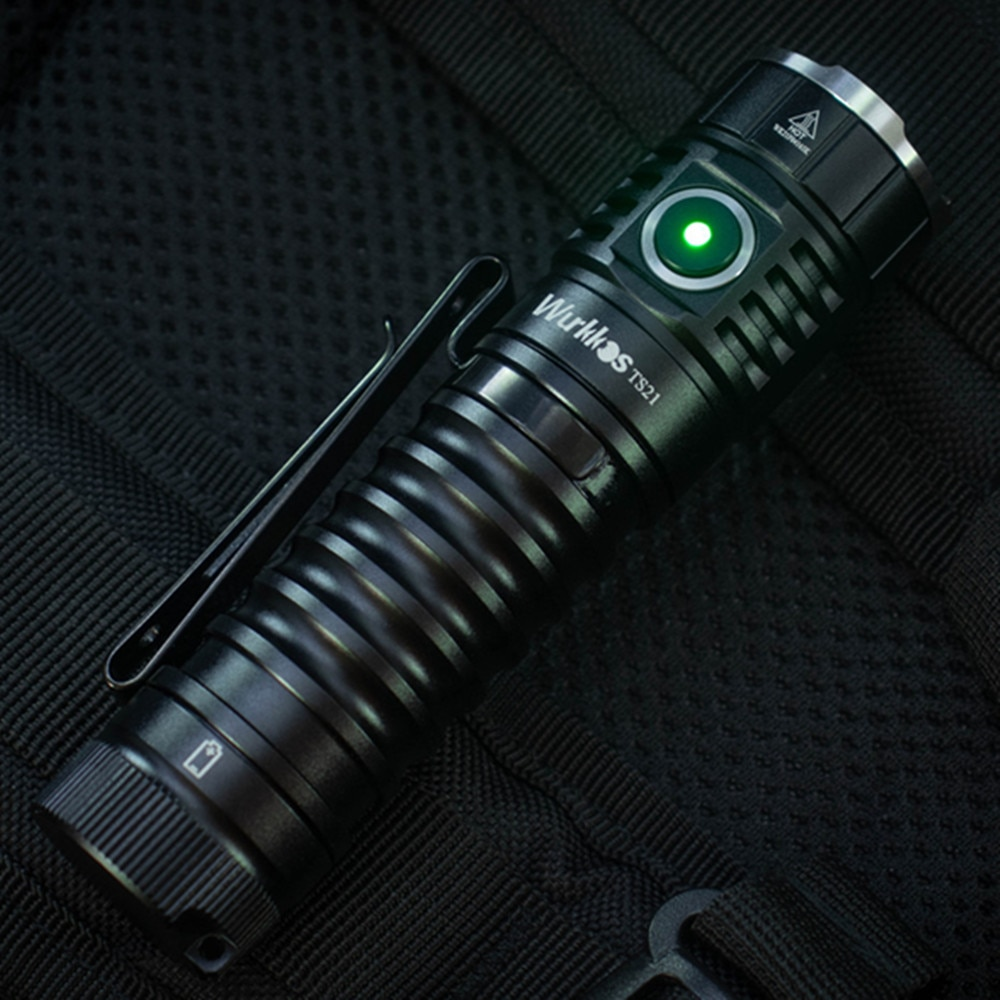 Wurkkos TS21 USB C Rechargeable 21700 LED Flashlight 3*SST20 3500lm Anduril UI with Magnet Tail Stainless Steel Bezel