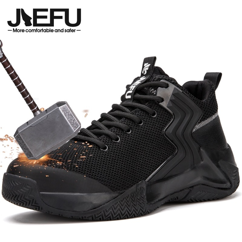 JIEFU أحذية أمان رجالية خفيفة الوزن تنفس عدم الانزلاق امتصاص الصدمات الصلب تو حذاء برقبة للعمل أحذية رياضية مريحة البناء