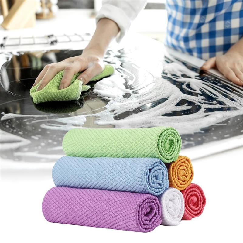 microfiber towel 5Pcs Fish Scales Cleaning Cloth Kitchen Mirror Rags All-Purpose Cleaning Rags for Windows  car accessories