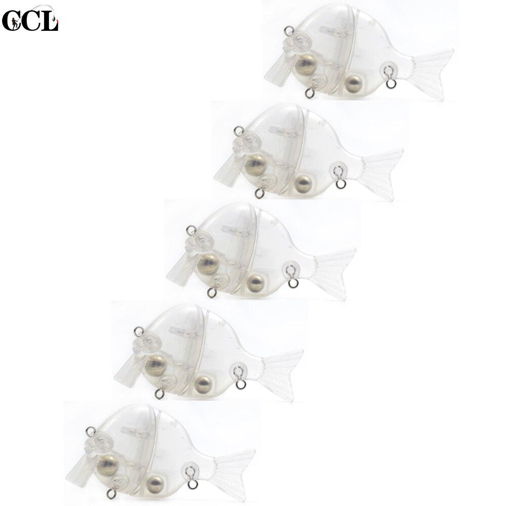 Cebos personalizados CCLTBA, cebo de pesca Bluegill en blanco, 3,5 pulgadas, 32g, sin pintar, cebo de Wake Gill, Señuelos de Pesca de cuerpo transparente, carnadas con articulaciones