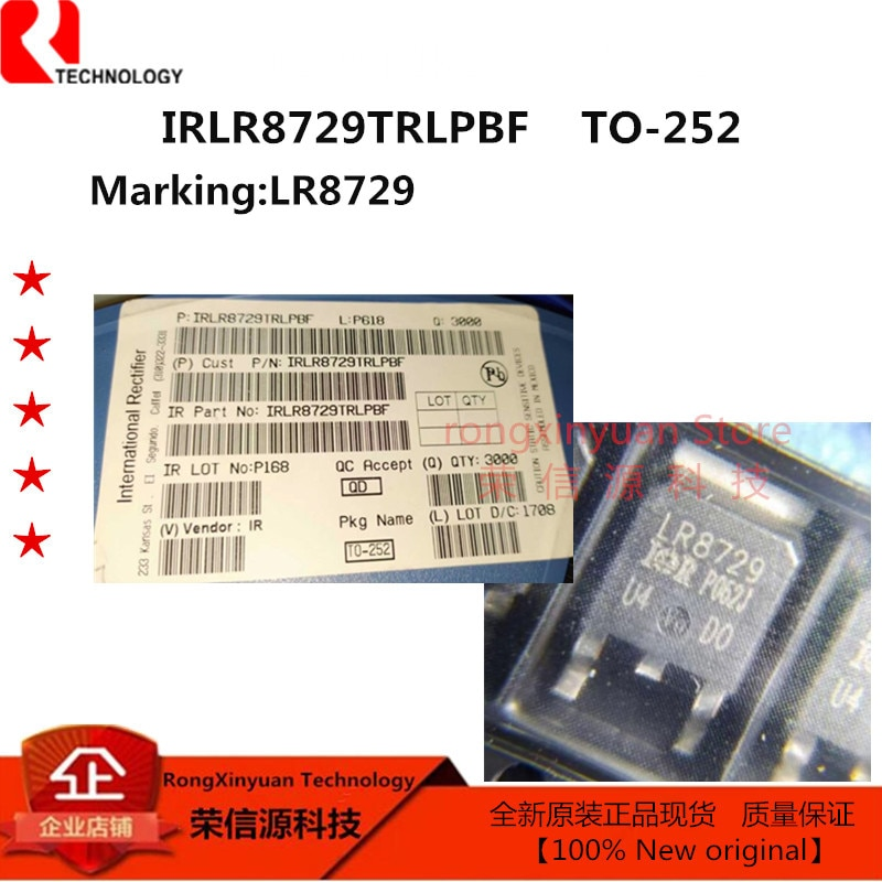 10 Uds IRLR8729TRLPBF LR8729-252 IRLR8729TRPBF IRLR8729PBF IRLR8729 Trans MOSFET P-CH 30V 58A 100% nuevo original