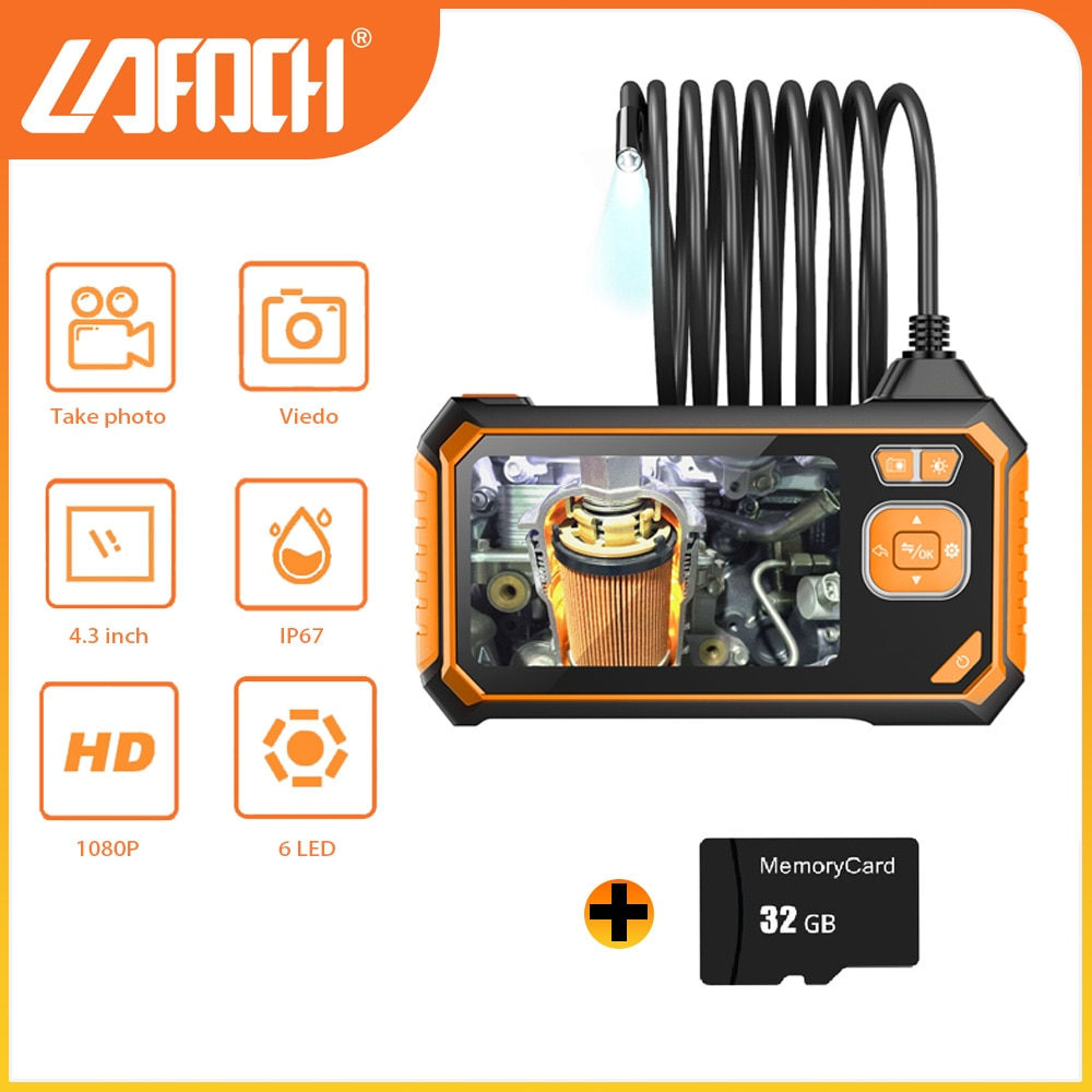 Promo Dual Lens Industrial Endoscope Digital 4.3inch LCD Camera HD IP67 Waterproof Inspection Engine Drain Pipe Camera With 32GB