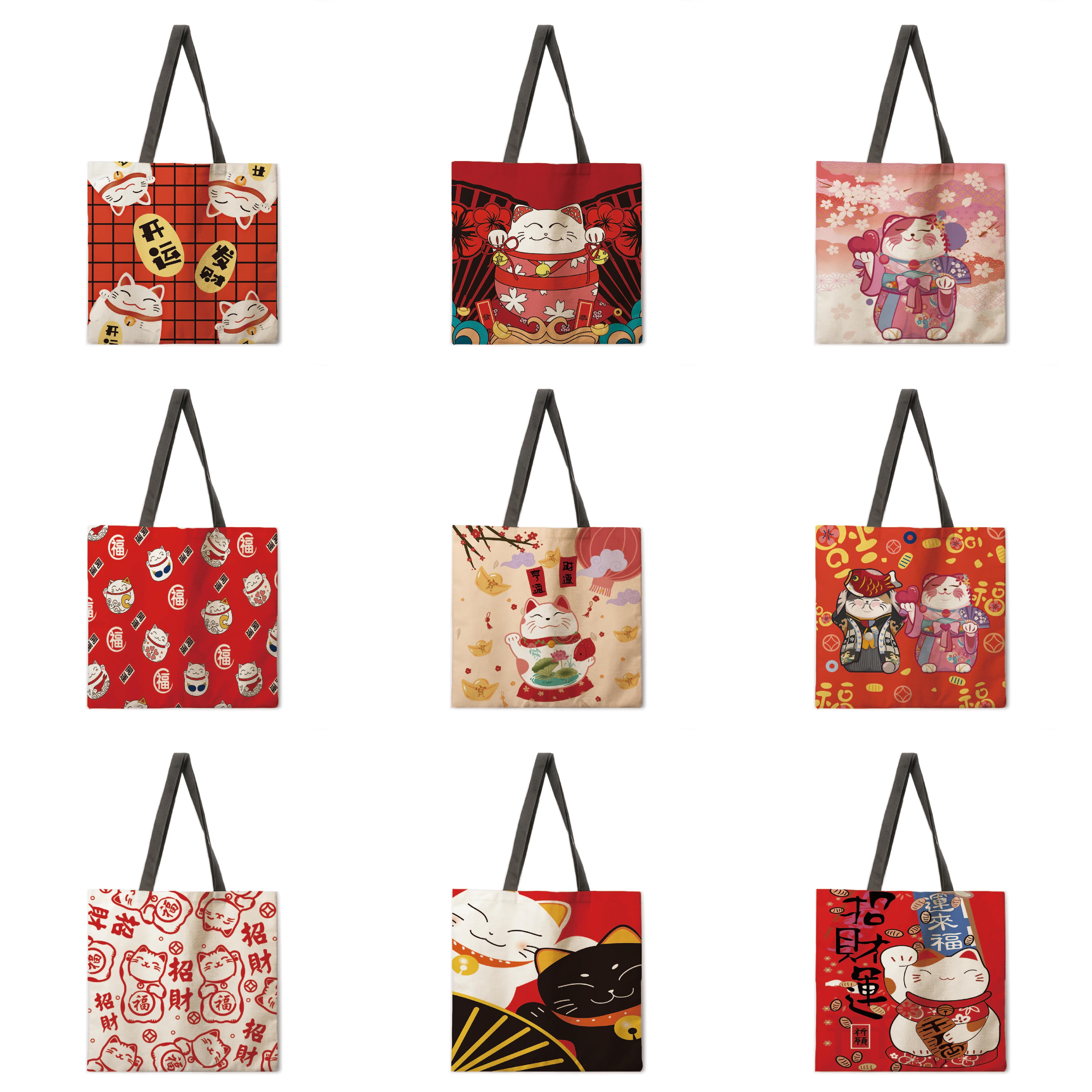 AliExpress - Women's Beach Bag Foldable Shoulder Bag Shopping Bag Lucky Cat Print Tote Bag Linen Casual Tote Bag Reusable