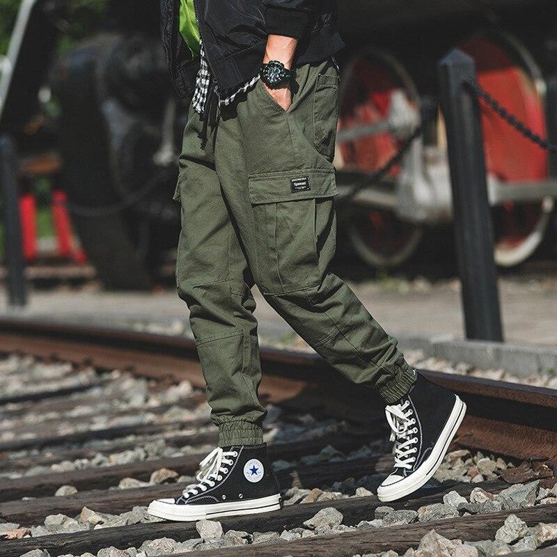 Pantalones negros de color verde militar para hombre, pantalones de estilo japonés de verano 2020 con bolsillos grandes para hombre, pantalones cargo, ropa de calle para hombre, pantalones de chándal