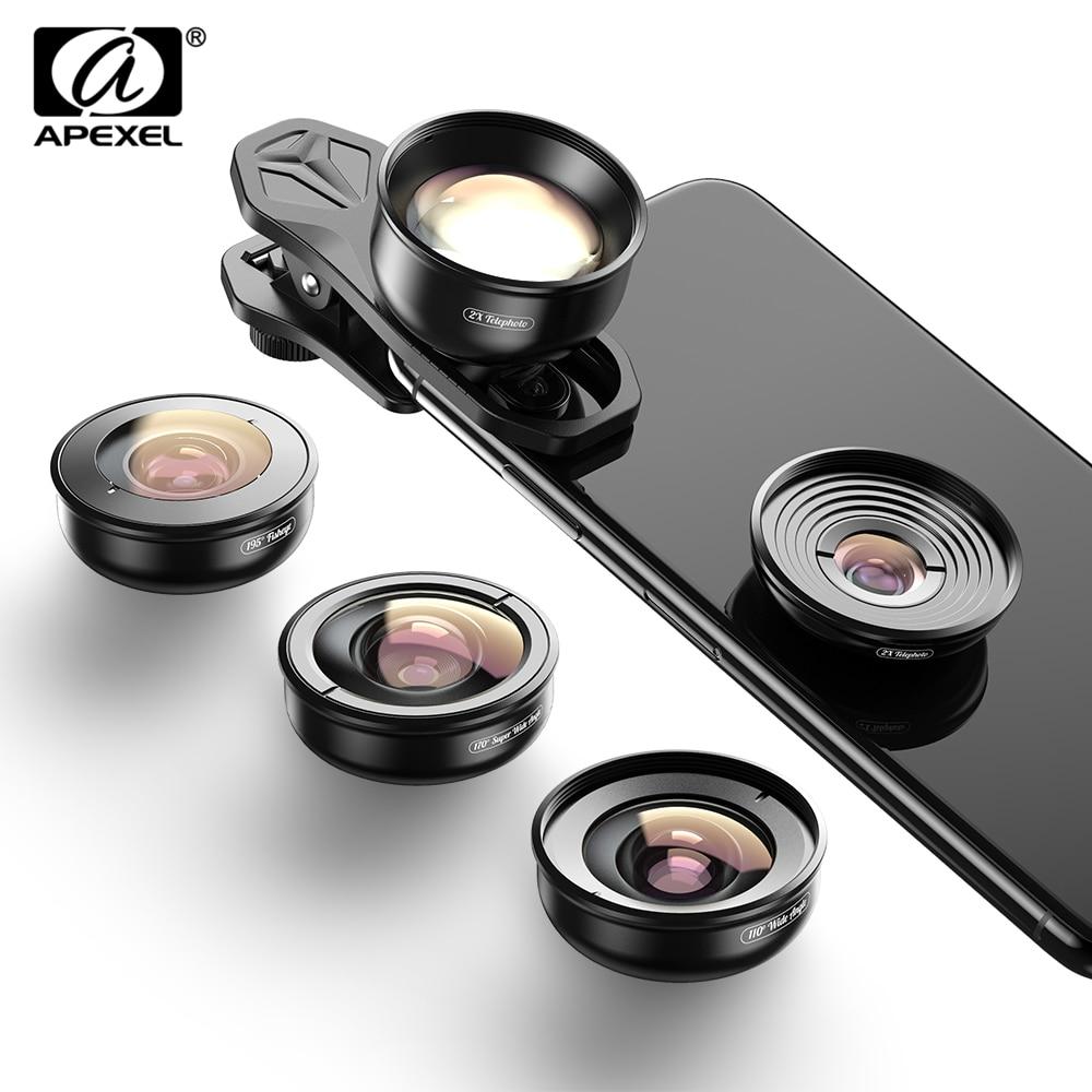 APEXEL 4K عدسة كيت 5 في 1 كاميرا صورة واسعة ماكرو عدسة سوبر فيش عدسة CPL تصفية للجوال فون سامسونج جميع الهواتف المحمولة