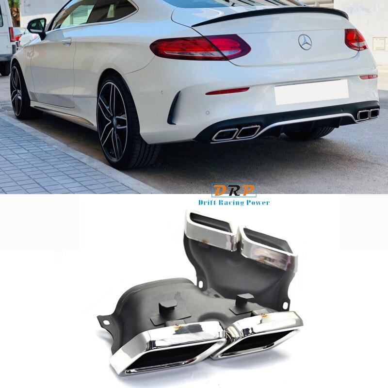 1 par de silenciador de tubo de escape plateado/Negro tubo de escape 304 acero inoxidable para Mercedes Benz W205 Clase C C200 C300 C260 C180