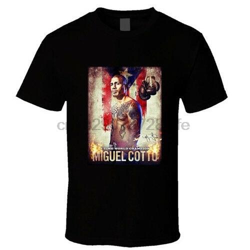 Camiseta de MIGUEL COTTO para hombre, camiseta negra, talla S - 3XL